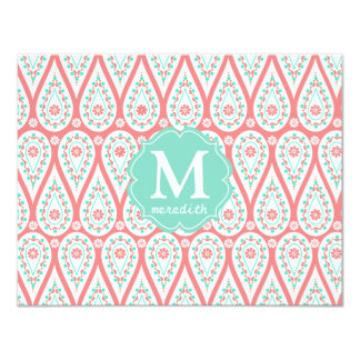 Modern Elegant Damask Coral Paisley Personalized Announcement