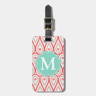 Modern Elegant Damask Coral Paisley Personalized Luggage Tag