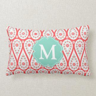 Modern Elegant Damask Coral Paisley Personalized Lumbar Pillow