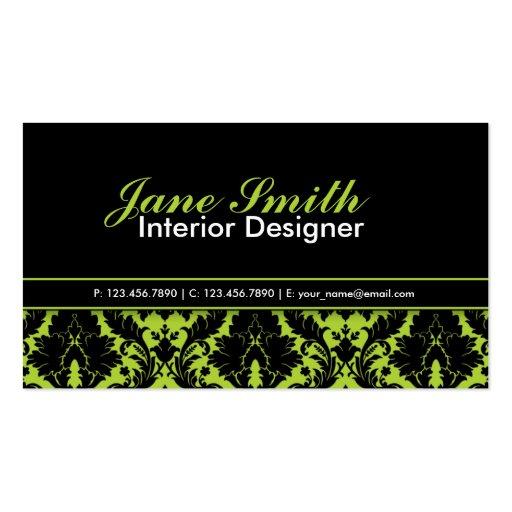 Modern Elegant Damask Floral Professional Stylish Business Card Template