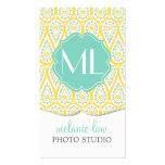 Modern Elegant Damask Yellow Paisley Personalised Pack Of Standard Business Cards