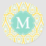 Modern Elegant Damask Yellow Paisley Personalised Round Sticker