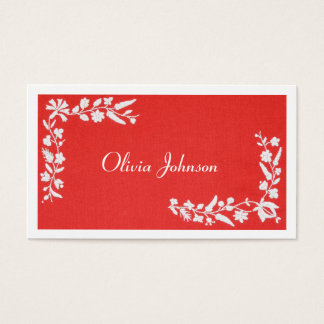 Modern Elegant Embroidered Red White Business Card