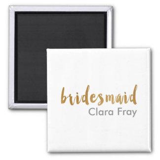 modern elegant faux gold bridesmaid text magnet