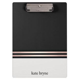 Modern Elegant Faux Rose Gold Foil Stripes Clipboard