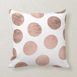 Modern elegant faux rose gold handdrawn polka dots throw pillow