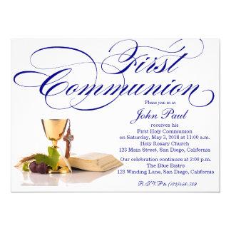 Modern Elegant First Communion Invitation for Boys