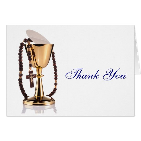 Modern Elegant First Communion Thank You Boys Card