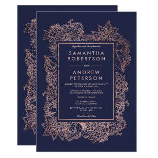 Modern elegant floral faux rose gold frame wedding card