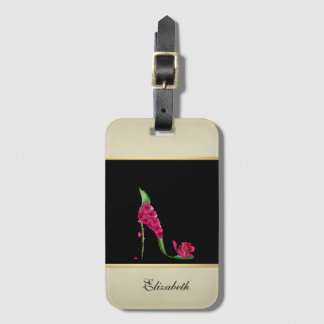 Modern Elegant Girly, Black, Cream,Flower Heel Luggage Tag