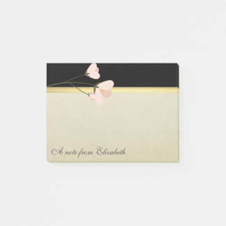 Modern Elegant Girly, Black, Cream,Flower Post-it Notes