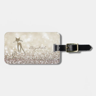 Modern Elegant Girly,  Glittery,Bokeh ,Cat Luggage Tag