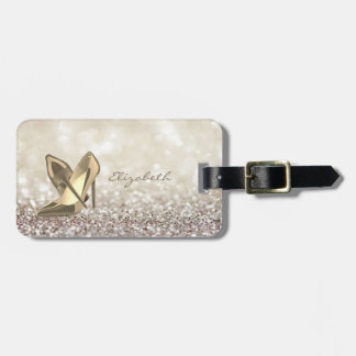 Modern Elegant Girly,  Glittery,Bokeh ,Heel Luggage Tag