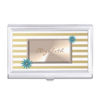 Modern Elegant  Girly  Striped Business Card Holder