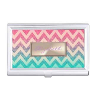 Modern Elegant  Girly ,Striped Glittery Faux Gold Business Card Holder