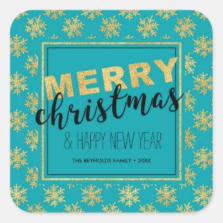 Modern Elegant Gold Blue Merry Christmas - Sticker