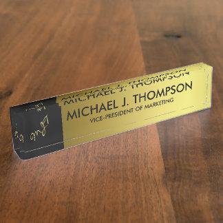 Modern Elegant Gold Foil Monogrammed Nameplate