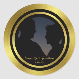 Modern Elegant Gold Foil Photo Wedding Engagement Round Sticker