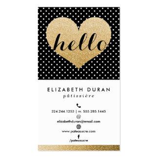 Modern Elegant Gold Hello Heart Black Dots Custom Double-Sided Standard Business Cards (Pack Of 100)