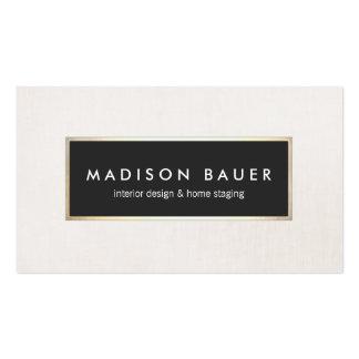 Modern Elegant Gold Lined Black and Beige Linen Pack Of Standard Business Cards
