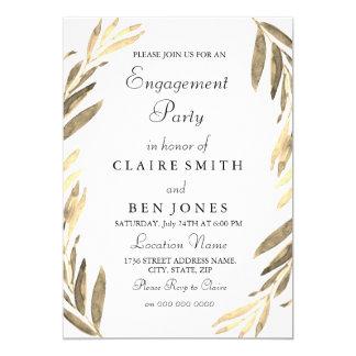Modern Elegant Golden Leaf Engagement Party Invite