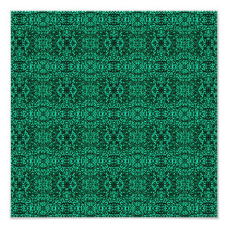 Modern Elegant Green Ethnic Pattern Poster
