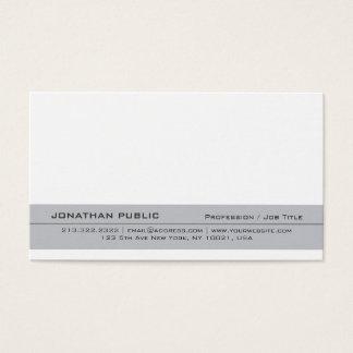 Modern Elegant Grey White Creative Simple Plain Business Card