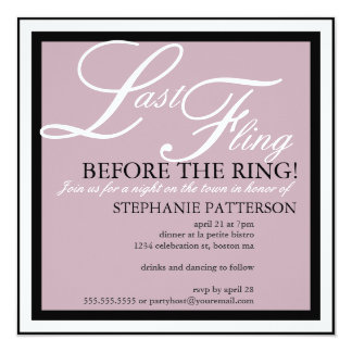 Modern & Elegant Last Fling Bachelorette Party 13 Cm X 13 Cm Square Invitation Card