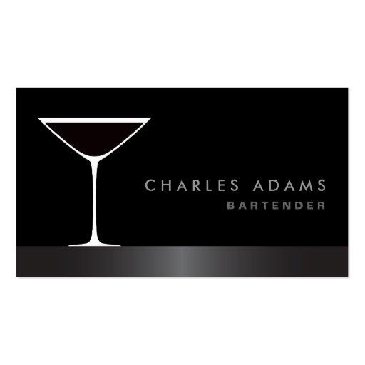 Modern elegant martini cocktail glass bartender business card
