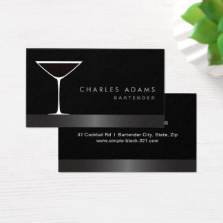 Modern elegant martini cocktail glass bartender business card