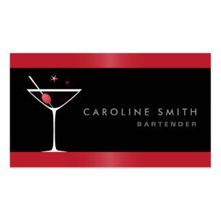 Modern elegant martini cocktail glass bartender business card template