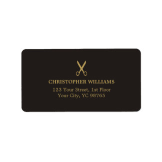 Modern Elegant Masculine Dark Faux Gold Salon Label