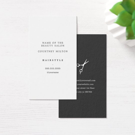 Modern Elegant Minimal White Grey Hair Stylist Business Card