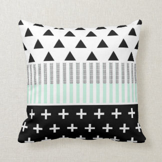 Modern Elegant Mint, Black,  & White Shapes Cushion