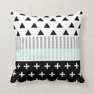 Modern Elegant Mint, Black,  & White Shapes Cushion