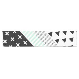 Modern Elegant Mint, Black,  & White Shapes Short Table Runner