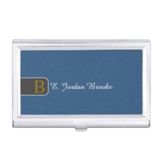 Modern Elegant Monogram (Dark Blue BG) Case For Business Cards