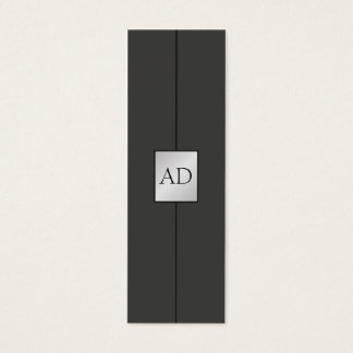 Modern Elegant Monogram Faux Silver Consultant Mini Business Card