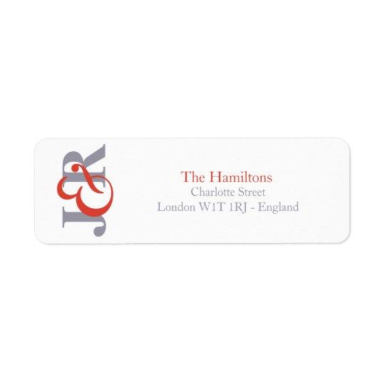 Modern Elegant Monogram Wedding Return Address Return Address Label