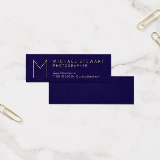Modern Elegant Navy Blue and Gold Monogram Mini Business Card
