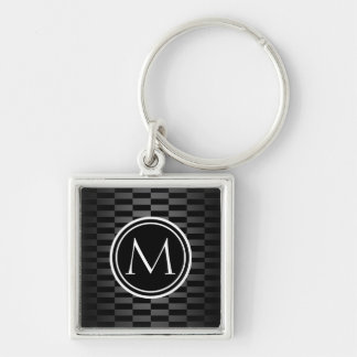 Modern Elegant Pattern and Monogram Key Ring