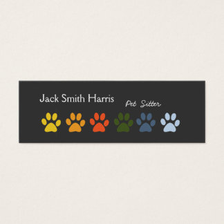 Modern Elegant Paws Pet Sitter Veterinarian Mini Business Card