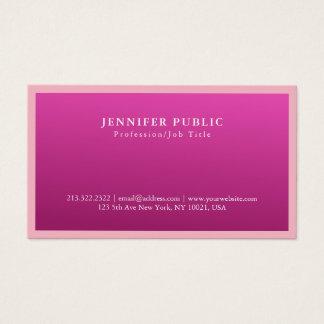 Modern Elegant Pink Color Classy Simple Plain Business Card