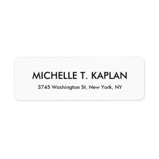 Modern Elegant Plain Black & White Minimalist Return Address Label