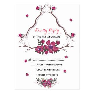 Modern elegant purple floral bouquet Wedding Postcard