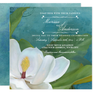 Modern Elegant Romantic Magnolia Floral Typography Card