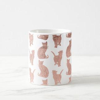 Modern elegant rose gold cats pattern custom basic white mug