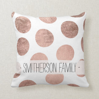 Modern elegant rose gold hand drawn big polka dots throw pillow