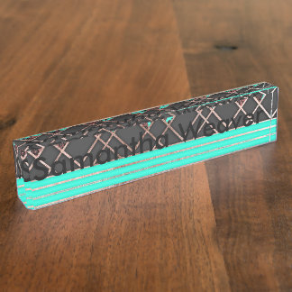 Modern Elegant Rose Gold Triangles and Teal Roses Name Plates
