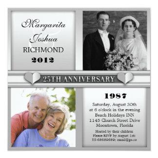"""modern elegant silver 25 anniversary invitations 5.25"""" square invitation card"""